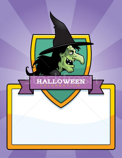 Karikatür cadı halloween grafik örnek Stok fotoğraf © cthoman