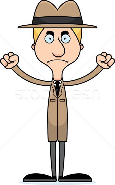 Cartoon boos detective man naar Stockfoto © cthoman