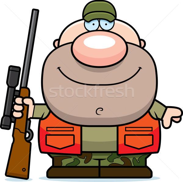 Feliz desenho animado caçador ilustração olhando homens Foto stock © cthoman