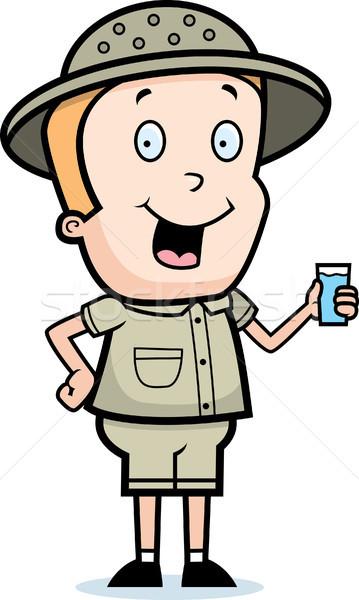 Explorador beber feliz desenho animado vidro água Foto stock © cthoman