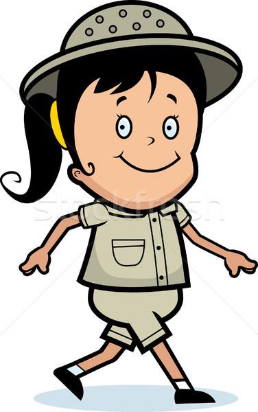 Explorador caminhada feliz desenho animado menina sorridente Foto stock © cthoman