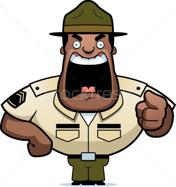 Cartoon дрель сержант сердиться указывая Сток-фото © cthoman