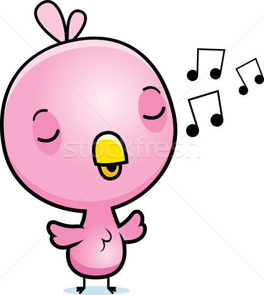 Cartoon Pink Bird Singing Stock photo © cthoman