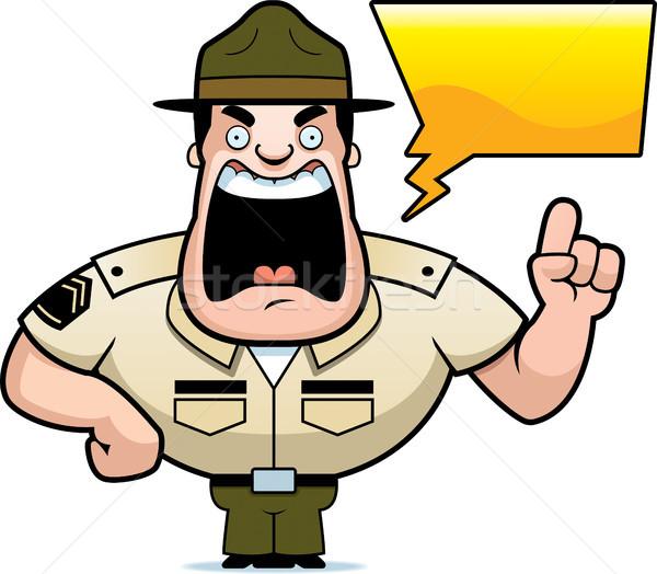Cartoon дрель сержант иллюстрация подготовки Сток-фото © cthoman