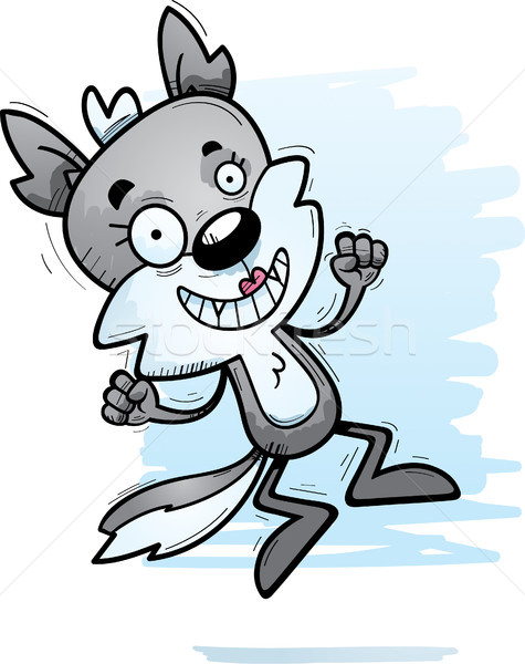 Cartoon Female Wolf Jumping Stock photo © cthoman