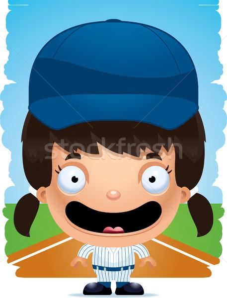 Desenho animado menina jogador de beisebol sorridente ilustração beisebol Foto stock © cthoman