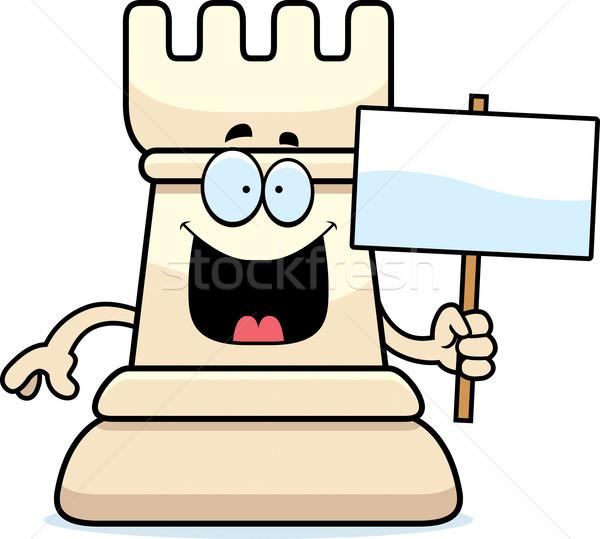 Cartoon Chess Rook Sign Stock photo © cthoman