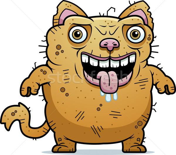 Stockfoto: Lelijk · kat · permanente · cartoon · illustratie · dier