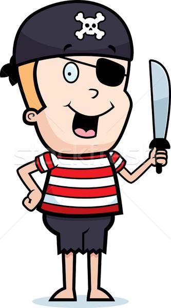 Stok fotoğraf: Korsan · kılıç · mutlu · karikatür · erkek · göz