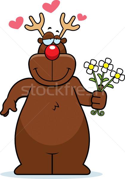 Rennes fleurs heureux cartoon bouquet amour Photo stock © cthoman