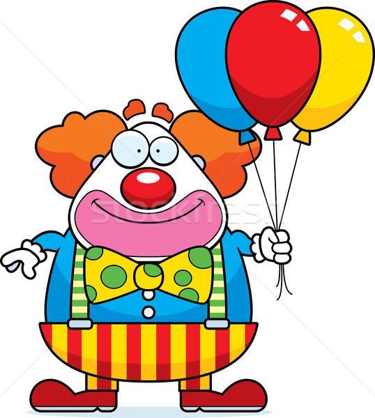 Stockfoto: Cartoon · clown · ballonnen · gelukkig · bos · partij