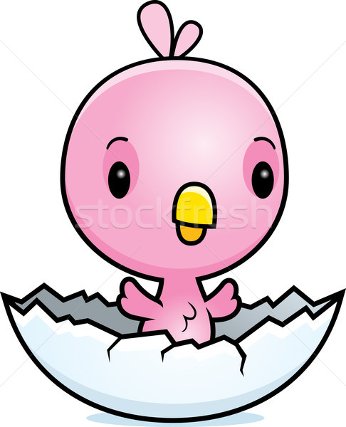 Cartoon Pink Bird Hatching Stock photo © cthoman