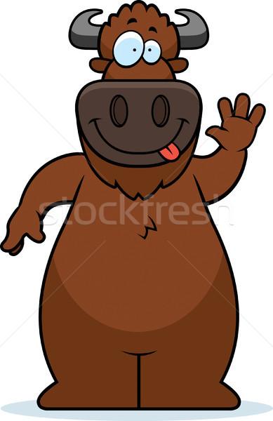 Cartoon Buffalo Waving Stock photo © cthoman