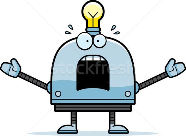 Stockfoto: Bang · weinig · robot · cartoon · illustratie · naar