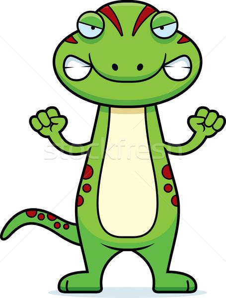 Arrabbiato cartoon geco illustrazione guardando animale Foto d'archivio © cthoman