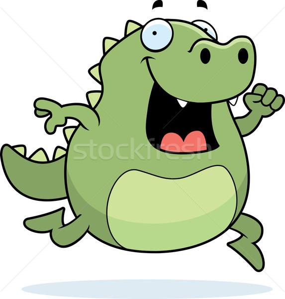 トカゲ を実行して 幸せ 漫画 笑みを浮かべて 緑 ストックフォト © cthoman