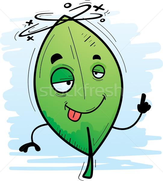 Bêbado desenho animado folha ilustração olhando feliz Foto stock © cthoman