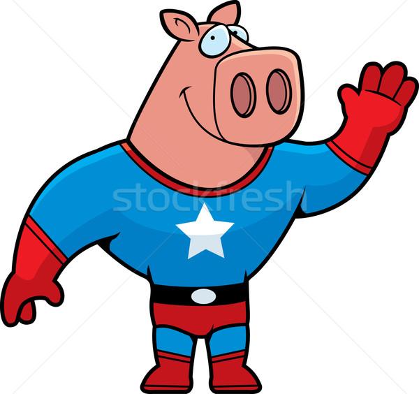 Сток-фото: Superhero · свинья · счастливым · Cartoon · улыбаясь
