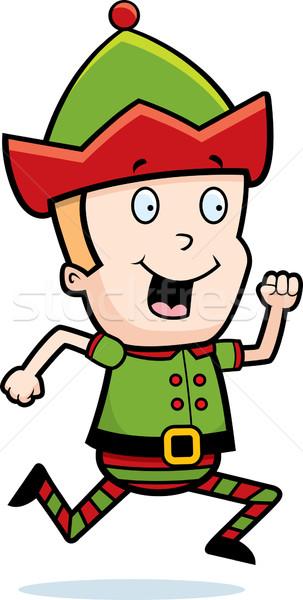 Elfo corrida feliz desenho animado natal sorridente Foto stock © cthoman