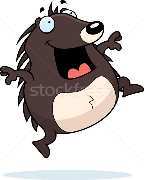 Ouriço saltando feliz desenho animado sorridente Foto stock © cthoman