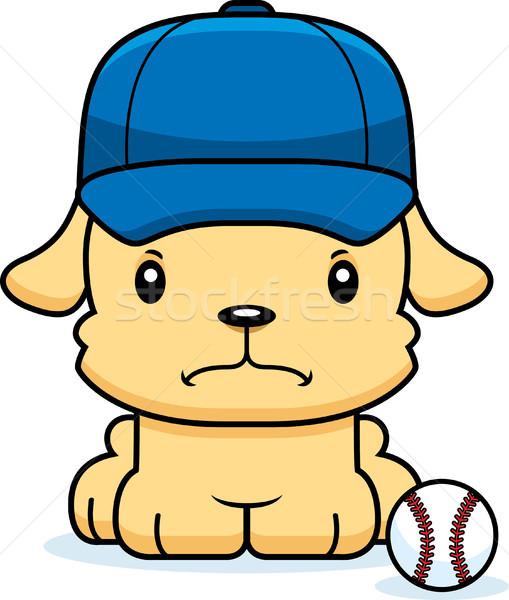 Desenho animado zangado jogador de beisebol cachorro olhando cão Foto stock © cthoman