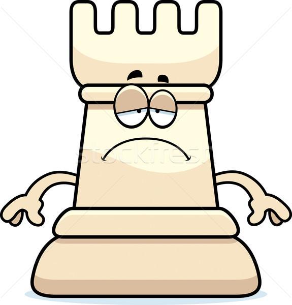 Sad Cartoon Chess Rook Stock photo © cthoman