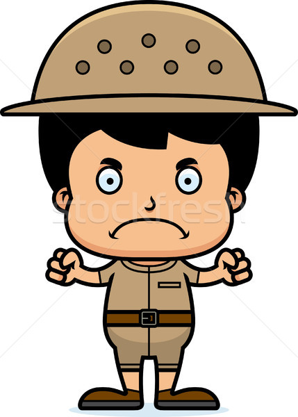 Cartoon Angry Zookeeper Boy Stock photo © cthoman