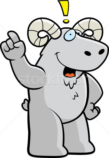 Widder Idee glücklich Karikatur sprechen Tier Stock foto © cthoman