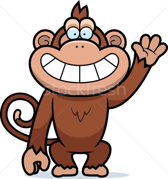 Stock fotó: Rajz · majom · integet · illusztráció · fogak · mosolyog