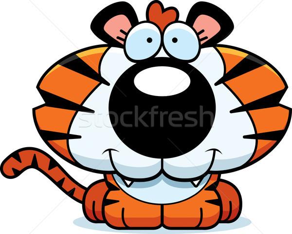 Cartoon gelukkig tijger welp illustratie Stockfoto © cthoman