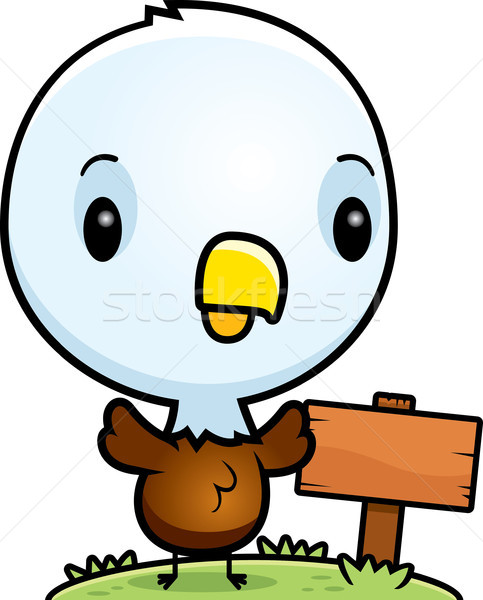 Cartoon Baby Bald Eagle Wood Sign Stock photo © cthoman