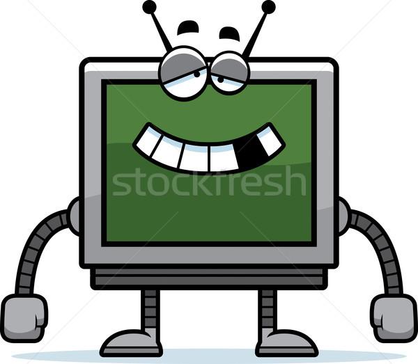 Компьютерный монитор Cartoon иллюстрация робота металл контроля Сток-фото © cthoman