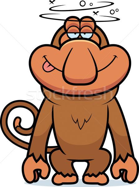 Cartoon stupide illustration heureux singe animaux Photo stock © cthoman