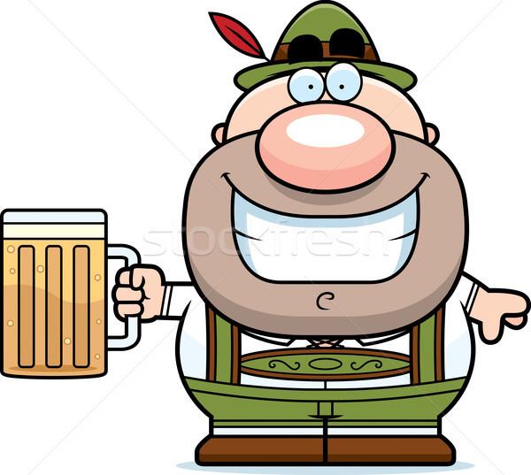 Karikatur Lederhosen Mann Bier Illustration trinken Stock foto © cthoman