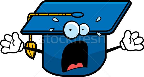 Bang afstuderen cap cartoon school Stockfoto © cthoman