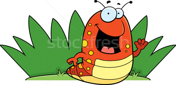 Rups gras gelukkig cartoon Stockfoto © cthoman
