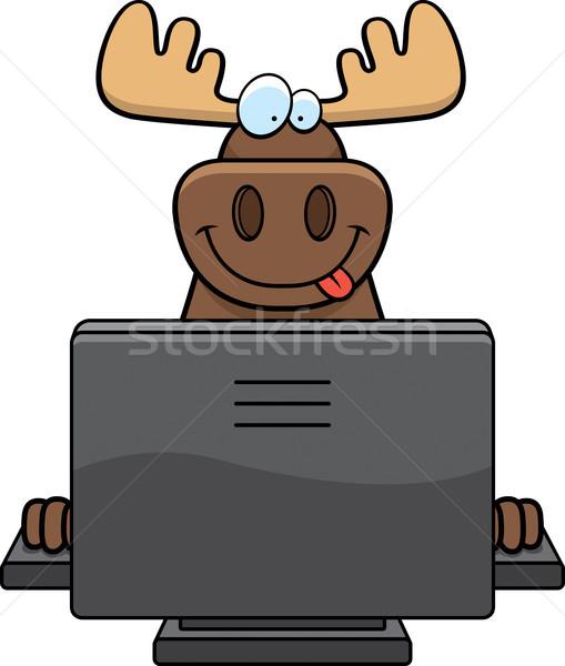 Moose computer felice cartoon tastiera monitor Foto d'archivio © cthoman