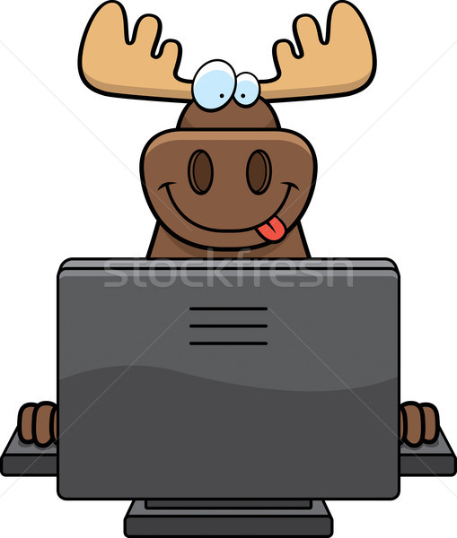 Eland computer gelukkig cartoon toetsenbord monitor Stockfoto © cthoman