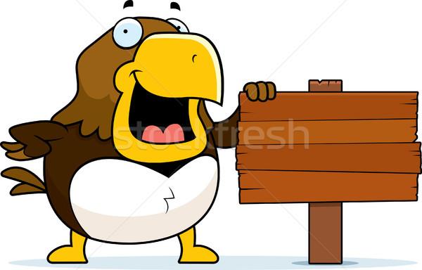 Desenho animado falcão assinar em pé madeira Foto stock © cthoman