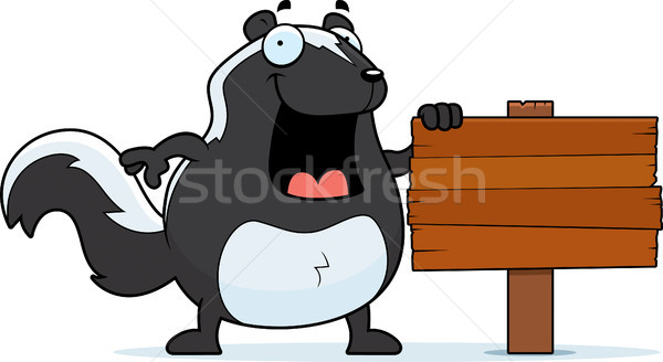 Cartoon stinkdier teken gelukkig hout Stockfoto © cthoman