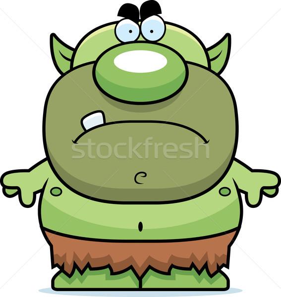Rajz mérges manó illusztráció néz zöld Stock fotó © cthoman