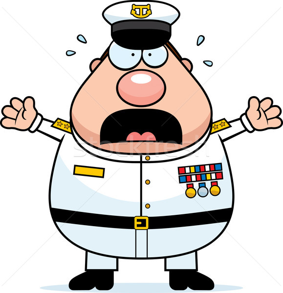 Scared Cartoon Navy Admiral Stock photo © cthoman