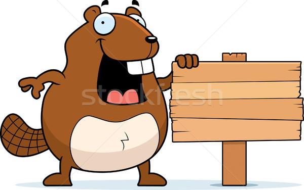 бобр знак счастливым Cartoon Постоянный Сток-фото © cthoman