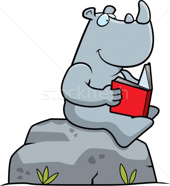 Cartoon Rhino Reading Stock photo © cthoman
