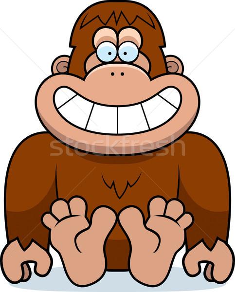 Cartoon Bigfoot Sitting Stock photo © cthoman