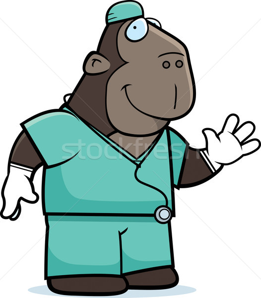 Cartoon Ape Doctor Stock photo © cthoman