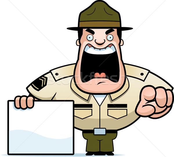 Cartoon дрель сержант знак иллюстрация Сток-фото © cthoman