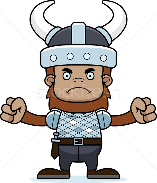 Cartoon Angry Viking Sasquatch Stock photo © cthoman