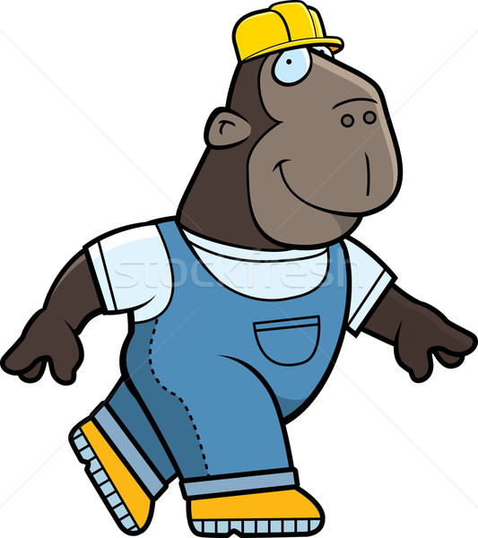 építész emberszabású majom boldog rajz sétál mosolyog Stock fotó © cthoman