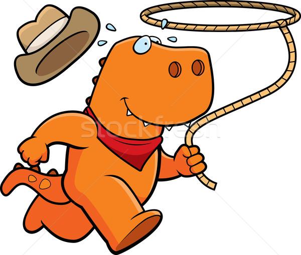 Dinosaurus rodeo gelukkig cartoon lopen hoed Stockfoto © cthoman